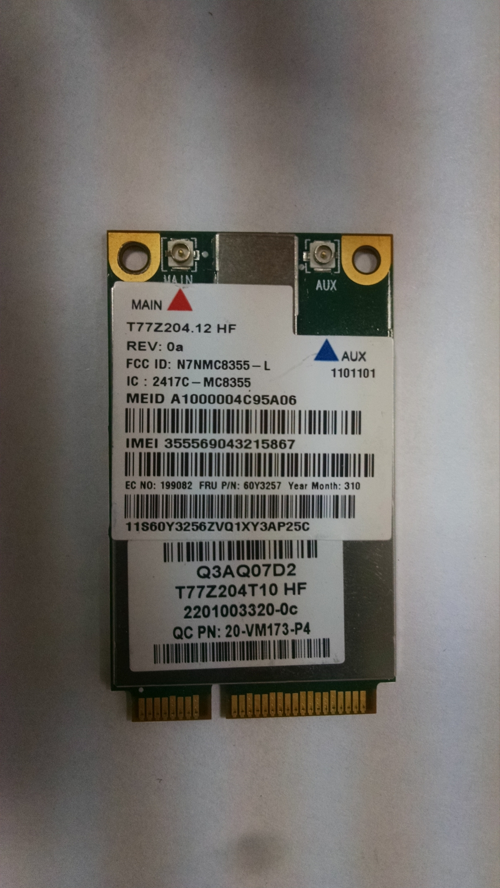 Модем MC8355 3G WWAN Card 60Y3257 Lenovo Thinkpad Sierra Wireless